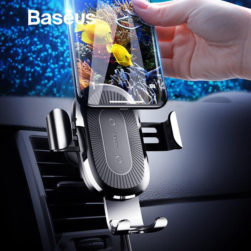 Baseus car montaje Qi cargador inalámbrico para el iPhone x 8 más rápido carga inalámbrica soporte para samsung S9 S8