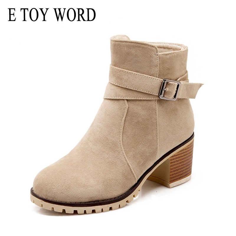 E TOY WORD Women Ankle Boots 2017 Winter Suede High Heels Boots Flock Gladiator Round toe Shoes Woman 3 Colors Size 35-43 XWX647 e toy word winter flock loafers casual slip on warm women shoes soft flats suede platform shoes woman size 35 40 xwd4157
