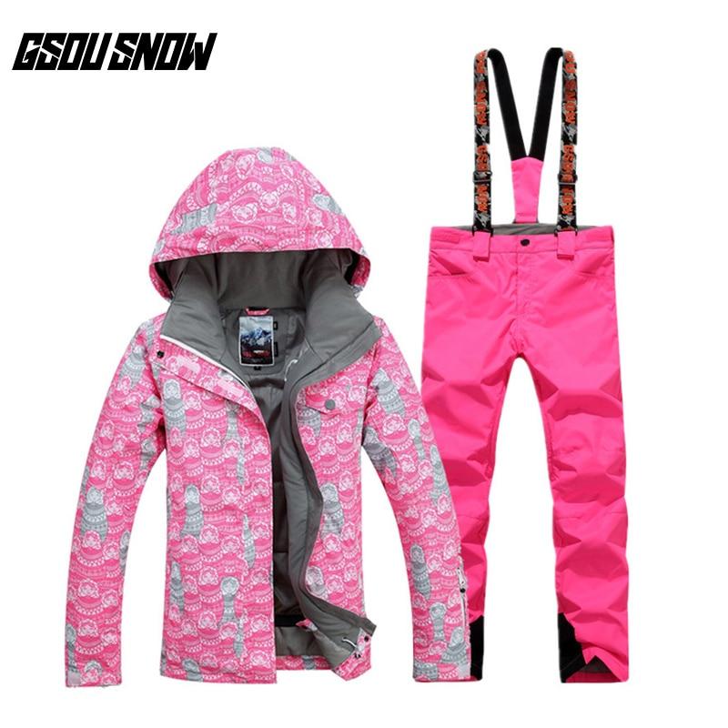 Nouveau GSOU NEIGE Femelle combinaison de Ski Hiver Chaud Respirant Coupe-Vent Imperméable résistant à l'usure Ski Veste Ski Pantalon Pour Les Femmes