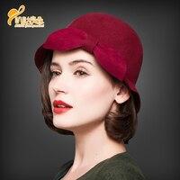 New Winter Wool Hat Female Fashion Fedoras Cap Ladies Dome Wool Headwear Bow Female Woolen British