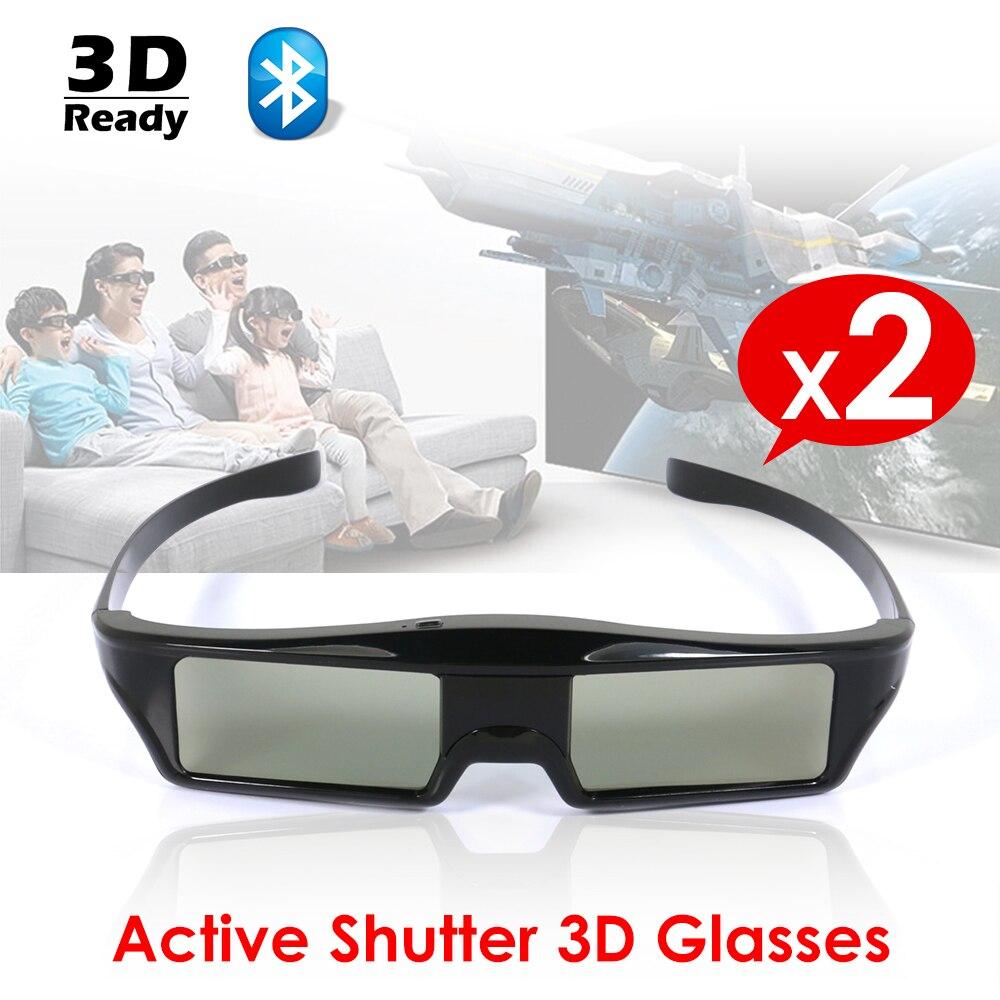 2 pcs/Lot Obturateur Actif Bluetooth RF 3D Lunettes 96-480Hz pour Sony Samsung Panasonic Universel 3DTV 3LCD EPSON projecteur