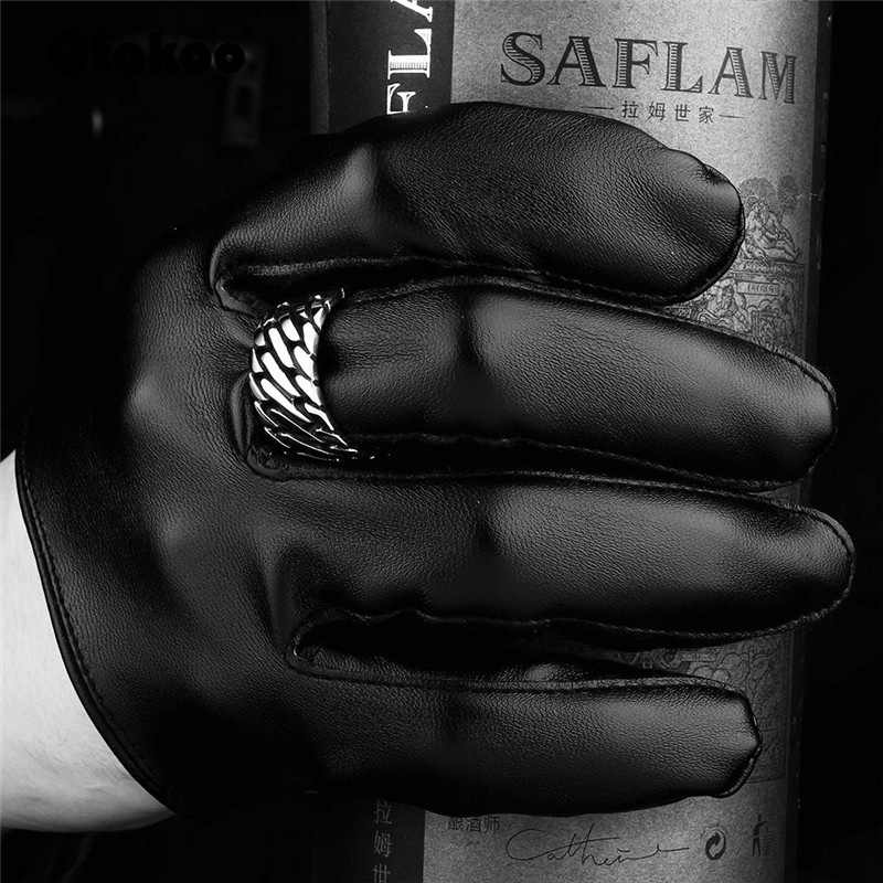 Otakoo 2018 خمر ريترو بوذا خواتم أبدا تتلاشى للدراجات النارية السائق سلسلة حلقة سحر الفولاذ المقاوم للصدأ زفاف باند الطوق