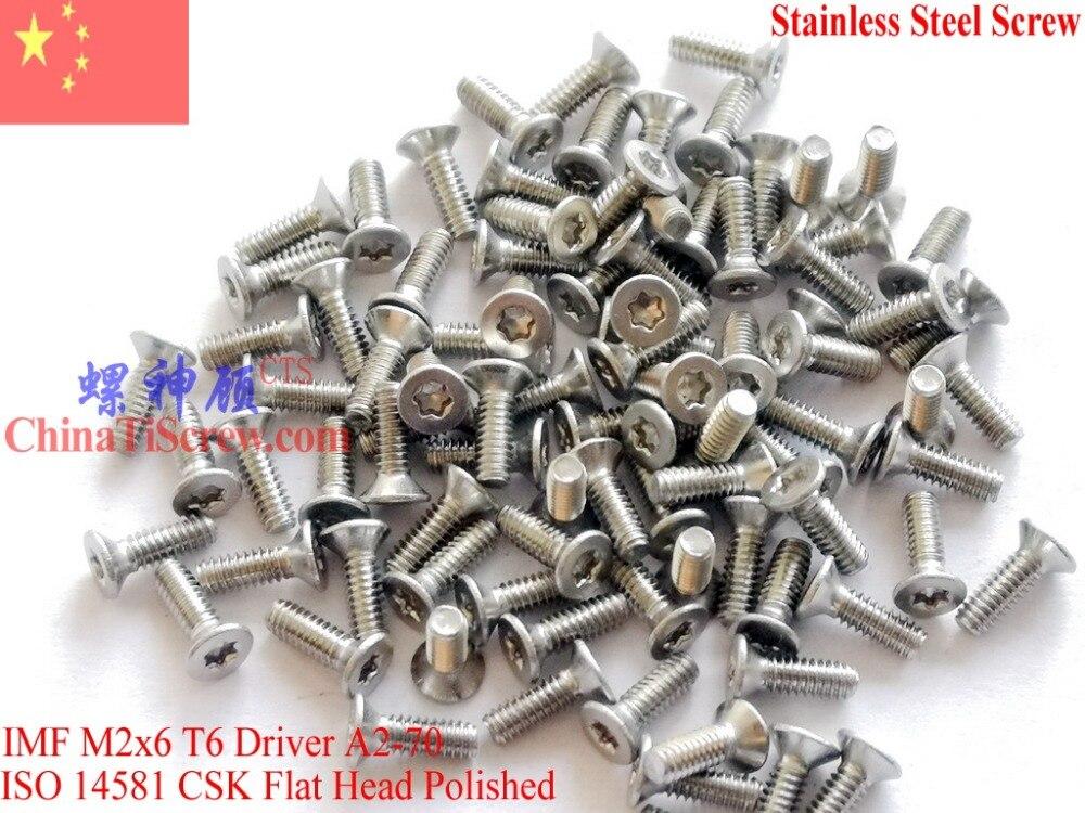 Stainless Steel Screws M2x6  ISO 14581 Flat Head Torx T6 Drive A2-70 Polished ROHS 100 pcsStainless Steel Screws M2x6  ISO 14581 Flat Head Torx T6 Drive A2-70 Polished ROHS 100 pcs