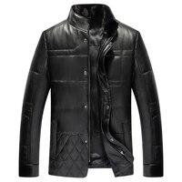 Кожаный пуховик для мужчин Роскошные пояса из натуральной кожи Высокое качество S овчины зимняя куртка норки меховой воротник
