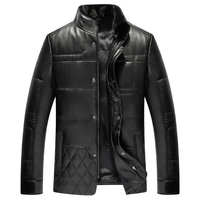 Leather Down Coat Men Luxury Genuine Leather High Quality Mens Sheepskin Winter Jacket Mink Fur Collar