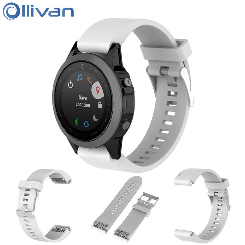 Ollivan 20mm Width Silicone Strap For Garmin Fenix 5S Replace Wrist Band Quick Release Sports Watchband For Garmin Fenix5s