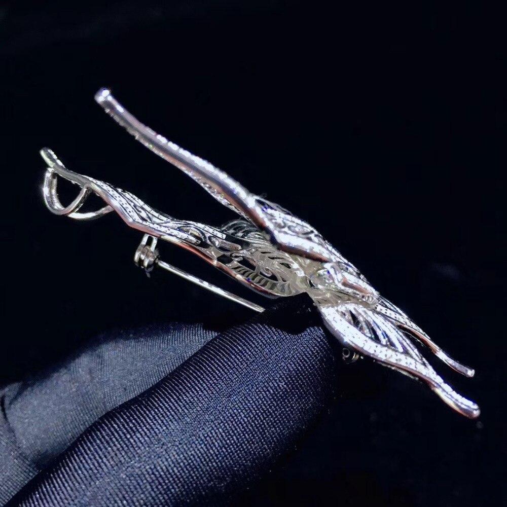 Broche papillon blanc insecte broches 925 argent sterling avec zircon cubique mode femmes bijoux 37*68 MM pendentif double usage - 4