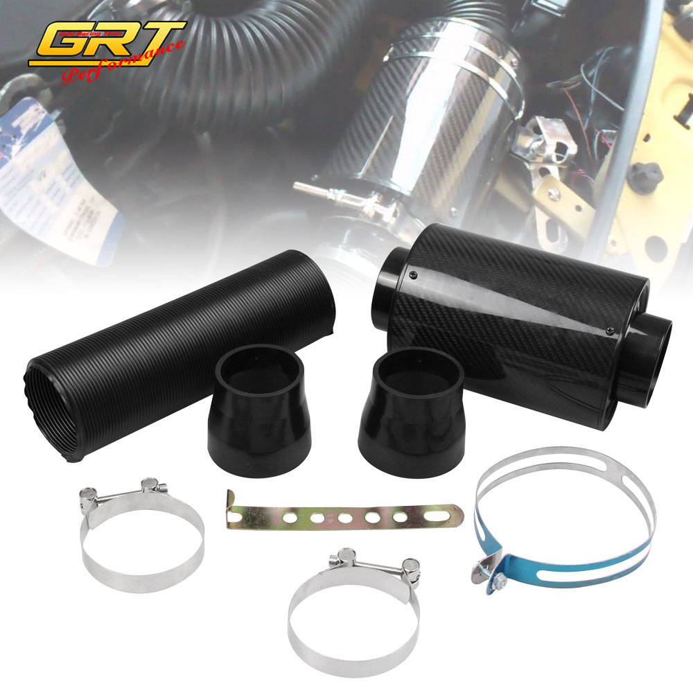 GRT -Free Shipping Universal Racing Air Filter Box Carbon Fiber Cold Feed Induction Kit Air Intake Kit Without Fan IP009