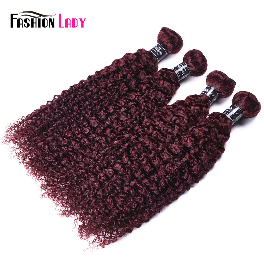 Fashion Lady Pre-colored 4 Bundles Indian Hair Bundles Kinky Curly Hair 100% Human Hair 99j Red Hair Bundles Non-remy