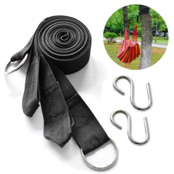 Top quality 2PC Camping Strong Strap Belt Hammock Tree Straps Hanging Rope with 2 Hooks - discount item  5% OFF Outdoor Furniture