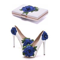 Crystal Queen Blue Lace Flower Bride Shoes High Heel Wedding Dress Shoes With Matching Bag Cutomized Ceremony Pumps With Purse