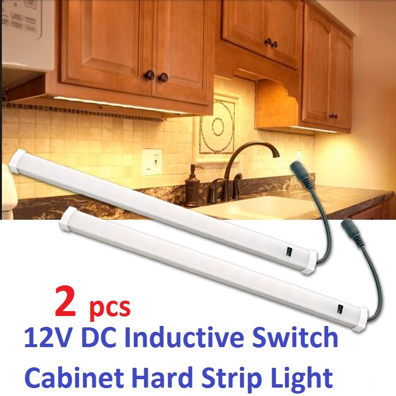 2x12v DC LED lemputė po spintelės apšvietimo lempute Vamzdinė lemputė Indukcinė (perbraukiama) jungiklis Virtuvės interjeras Kemperis Karavanas / namelis / RV šilta balta