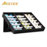 ABEDOE 18 Slot Glasses Storage Box Eyeglass Sunglasses Storage Display Grid Case Stand Holder Glasses Display Case Organizer