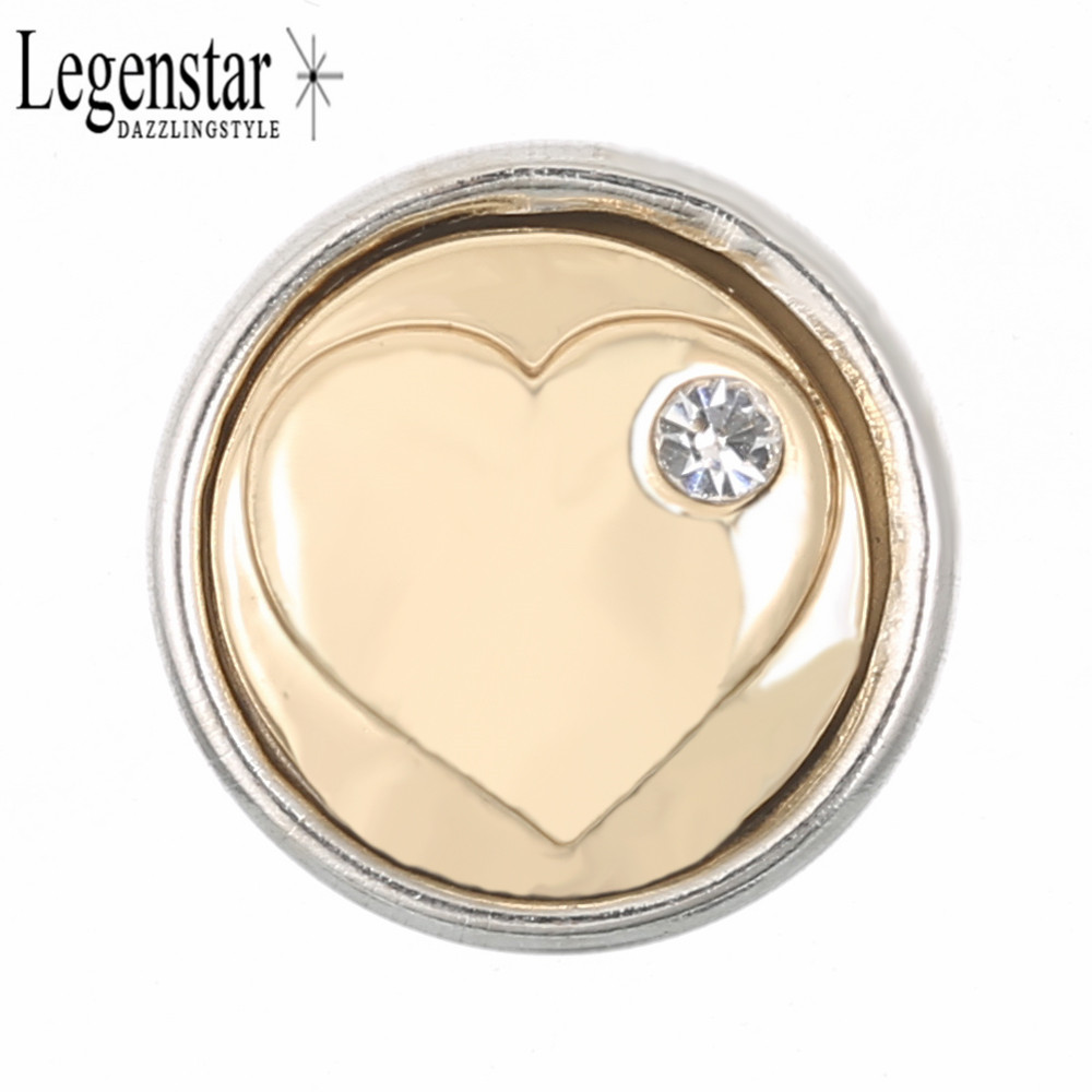 Legenstar 12mm Heart Crystal Charm Snap Button DIY Snap Fit Necklace Earring Bracelet Interchangeable Jewelry Gift For Women image