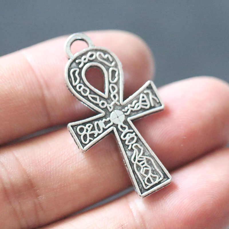 Ankh croix pendentif breloques pour la fabrication de bijoux bricolage à la main Bracelet collier boucles d'oreilles tibétain argent accessoires 38x21mm