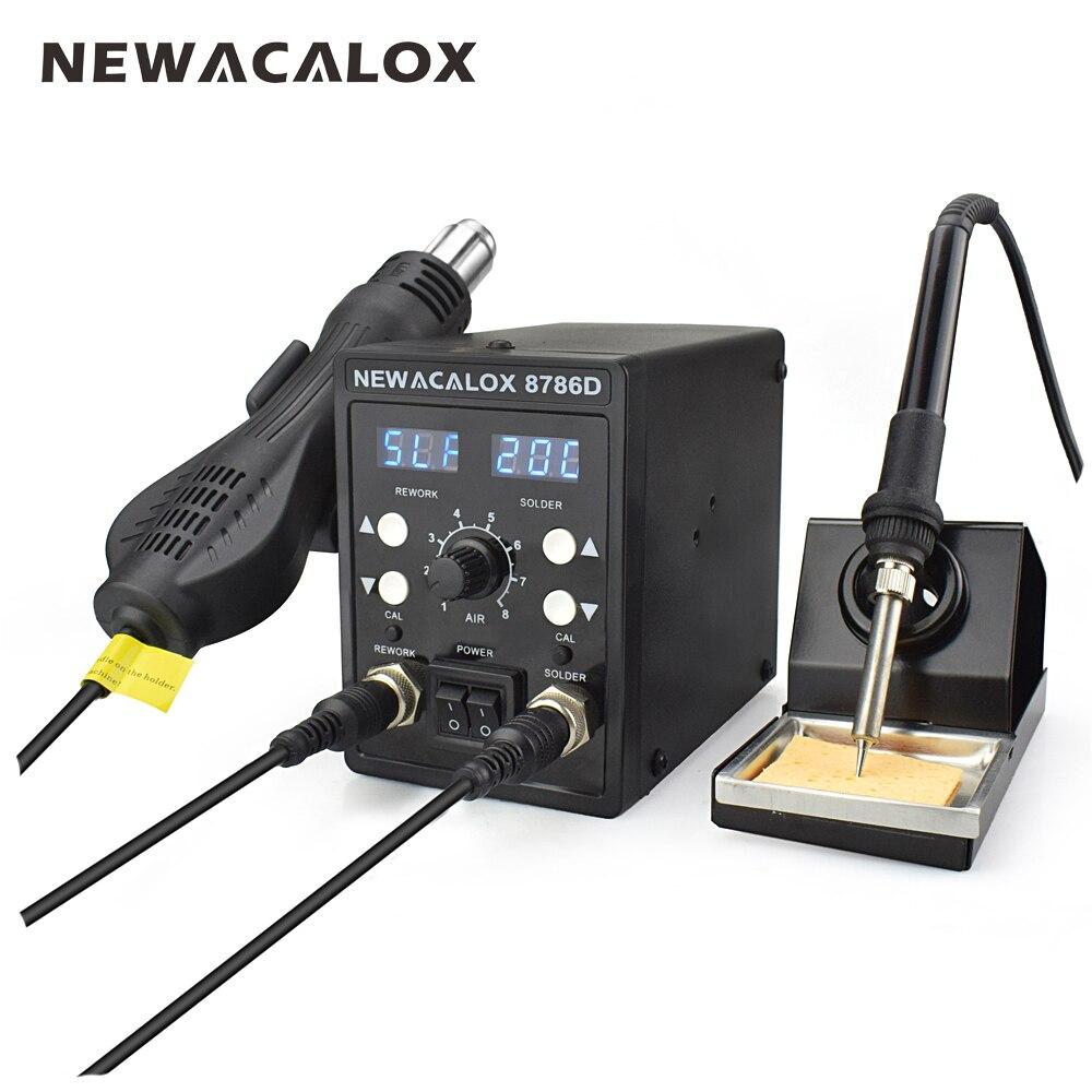 NEWACALOX 8786D 750 W azul Digital 2 en 1 SMD reanudación Estación de soldadura reparación soldadura soldador Set PCB desoldar herramienta