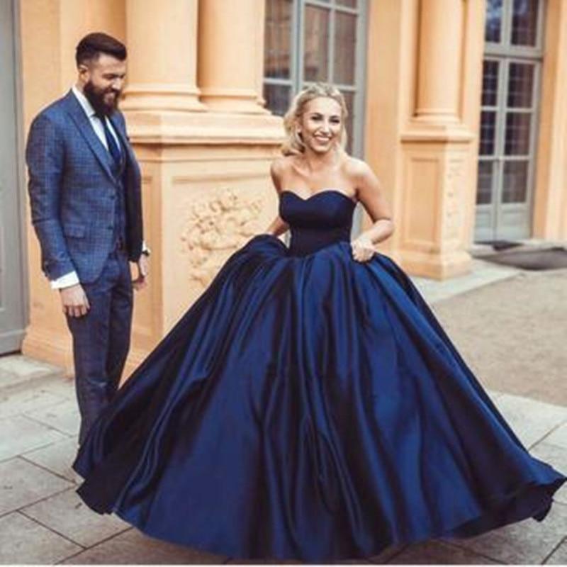 Vinca Sunny New Sexy Navy Blue Sweetheart Ball Gowns Satin Wedding Dresses 2020 Bridal Gown Vestido De Noiva