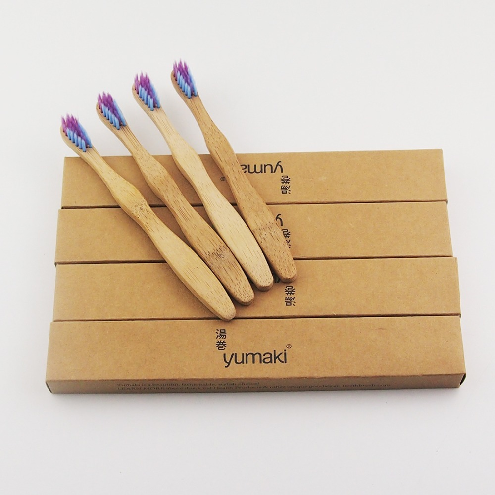24 Pcs/lot Child Colorful Bristle Crown Environmentally Wood Toothbrush Bamboo Toothbrush Soft-Bristle Capitellum Bamboo Fibre