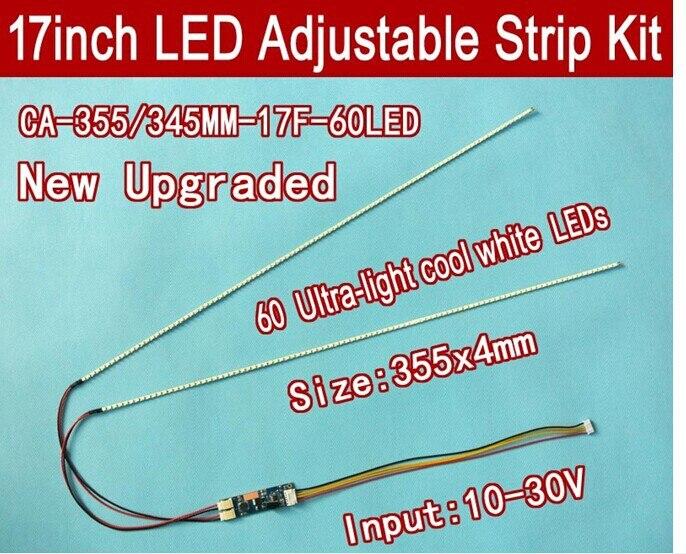 NEW 2PCS 17'' 355mm Adjustable Brightness Led Backlight Strip Kit,Update 17inch LCD Ccfl Panel To LED Backlight