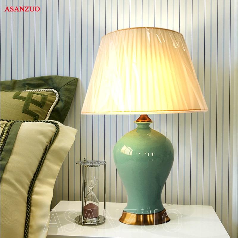 Pastoral Chinese Ceramic Fabric Led E27 Table Lamp For Bedroom Study Living Room European retro Light fixture