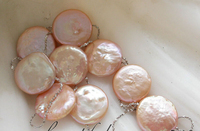Z3367 NICE 18 14mm pink coin freshwater pearl silver necklace