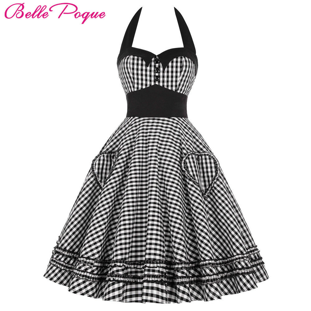 Belle Poque Summer Dress Plus Size Women Clothing 2017 Retro Swing Gown Pin up Plaid Robe Vintage 60s 50s Rockabilly Dresses