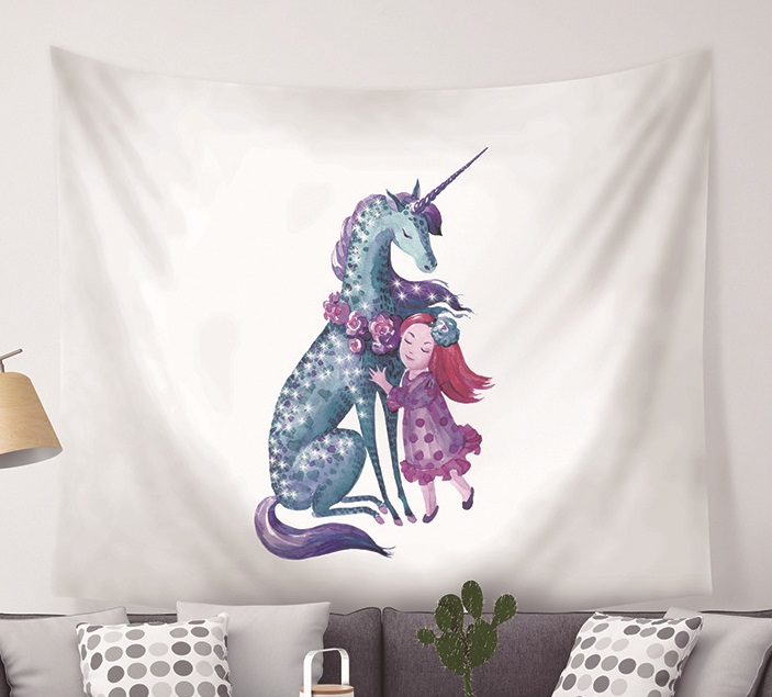Image 3 - CAMMITEVER Unicorn Fairy Theme Wall Hanging Tapestry Cute Animal Hippie Mandala Yoga Mat Bedspread Sheets Home Decor-in Tapestry from Home & Garden