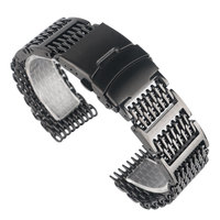 20/22/24mm HOT Black Silver Mesh Bracelet Folding Clasp with Safety Solid Link Men Women Shark Stainless Steel Watch Band Strap