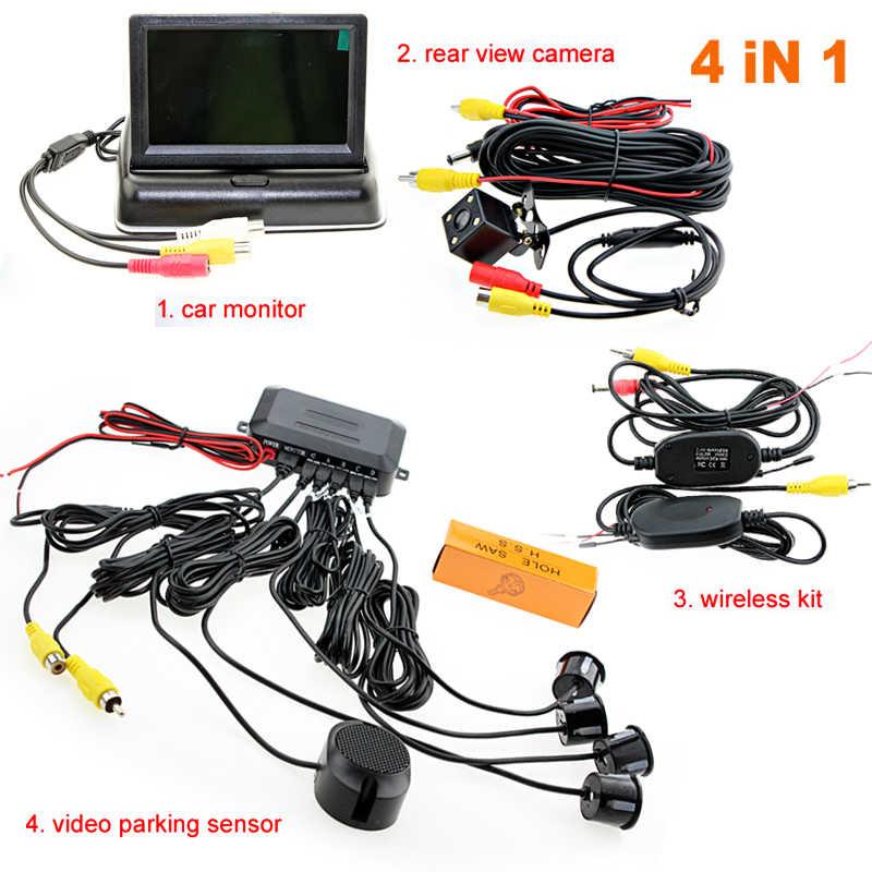Sinairyu Auto Draadloze Parking Monitor Video Systeem 4.3 inch Auto Opvouwbare Monitor met Parking sensor en camera Draadloze Kit