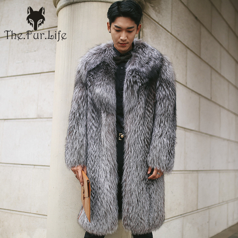 Luxury Real Men's Silver Fox Fur Coat Long Warm Winter Fur Jackets With Big Collar Male Soft Genuine Natural Fur Outwear New