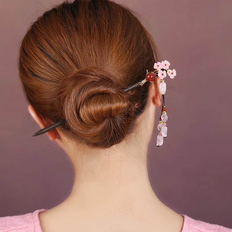 Bridal Vintage Sandalwood Wood Hairpin Hair Accessories Hair Stick Chignon Pin