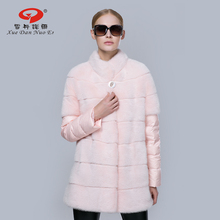 Real mink coats for women genuine leather jacket down sleeve real fur coat fashionable natural fur clothes pink green grey color