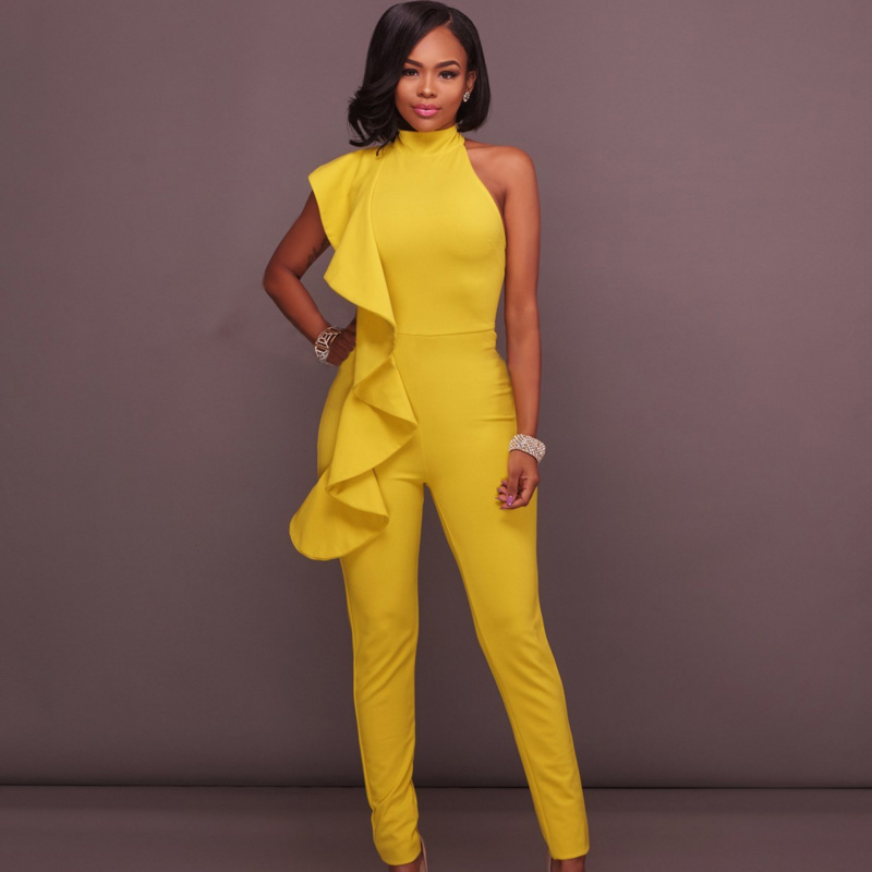 2018 SUMMER Ruffle Long Trouser Jumpsuit Women Romper Off Shoulder Sexy Party Bandage Yellow Skinny Club Elastic Bodycon Macacao