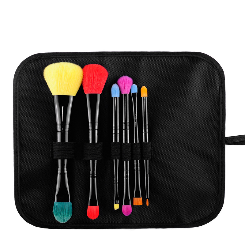 6 pcs cosmetic sets brush color double head portable fiber hair makeup brush rouge,Foundation,eyebrow,Eyeliner beauty tools