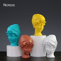 British Girl Head Portrait Bust Statues Figure Art Sculpture Resin Art&Craft Home Decoration Accessories R928