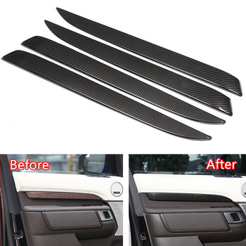 YAQUICKA Carbon Fiber Style 4x Car Interior Door Side Panel Cover Strips Trim For Land Rover Discovery 5 2017 Car-styling Covers