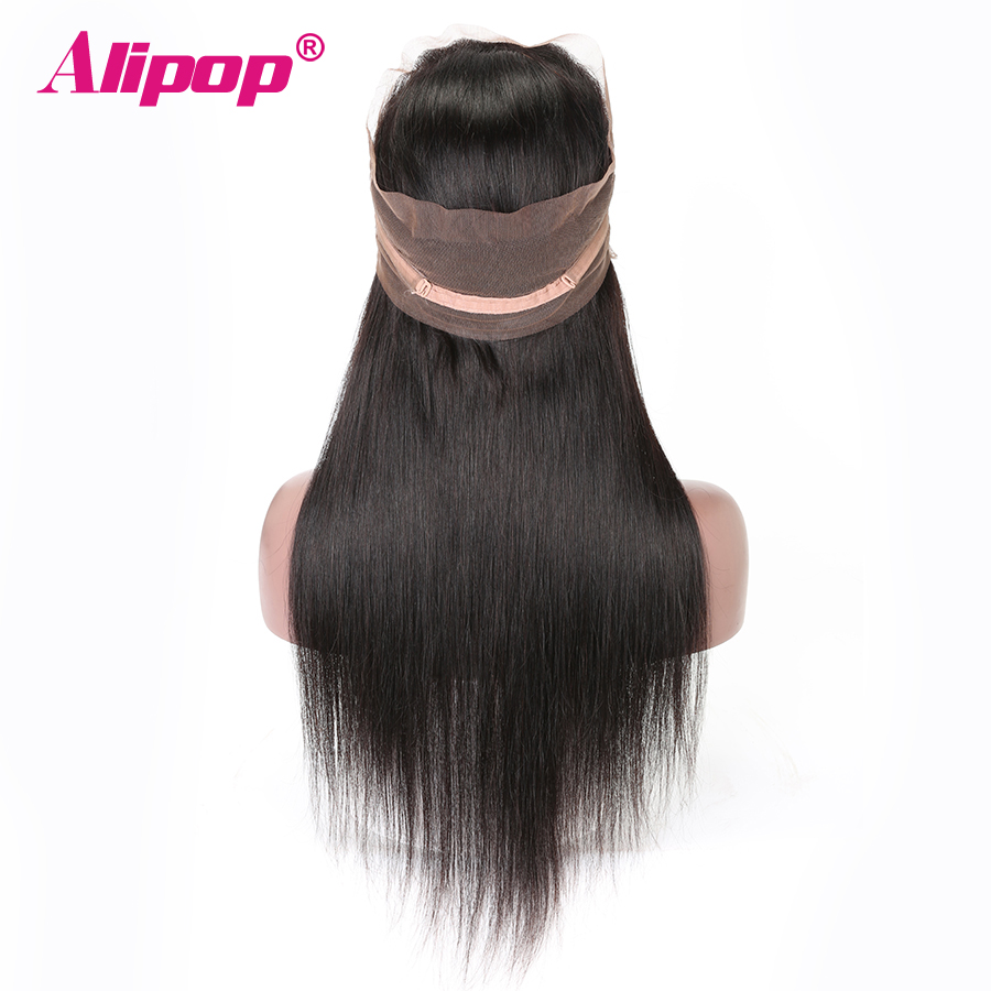 360 Lace Frontal Closure Brasilian Straight Hair Pre Plucked 10-24 Inch Remy Menneskehår Fri Midterdel 360 Spids Lukning ALIPOP