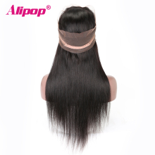360 Lace Frontal Closure Brazilian Straight Hair Pre Plucked 10-24 Inch Remy Human Hair Free Middle Part 360 lace Closure ALIPOP
