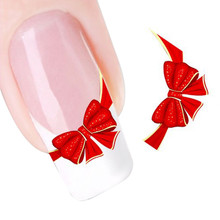 GRACEFUL  Red Bows Design Nail Tip Art Water Transfers Decal Sticker FREE SHIPPING JUL29