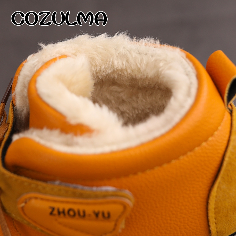 25c4ee105745 Details of COZULMA Kids Winter Leather Boots Girls Boys Warm Plush Snow Boots  Shoes Children Snow Boots with Fur Kids Winter Cotton Shoes click image.
