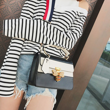 Bag female new animal pattern small square bag bee casual fashion trend slung shoulder PU handbag ladies