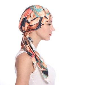 Image 3 - Мусульманские женщины хлопок Мягкий тюрбан с принтом шляпа раковая шапочка при химиотерапии капот шапки предварительно связанный шарф головной убор аксессуары для волос