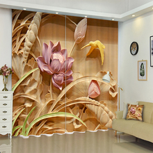 2018 3D Blackout Curtain Europe Stereoscopic Relief Pink Flowers Pattern Thicken Fabric Princess Room Curtains for Cafe Hotel