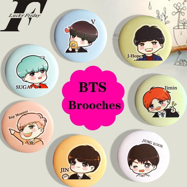 LUCKYFRIDAYF KPOP BTS LOVE YOURSELF Bangtan Boys Men Women Badge Cartoon Anime Brooch Pins K