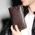 2016 Novas Marcas Saco de Embreagem Homens Carteiras Marrom Preto de Luxo Presente para o Sexo Masculino Zipper Carteira Longa Bolsa Bolsa de grande Capacidade YS1209