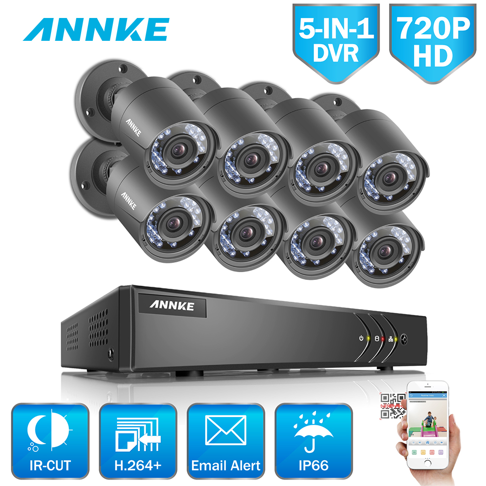 ANNKE 8CH Security Camera System 720P 5IN1 DVR Reorder 8pcs HD 720P Outdoor CCTV Camera Video Surveillance System 1TB Hard Drive home 8ch cctv security camera set day night 600tvl camera 8channel dvr kit 1tb hard drive color video surveillance system sk 059
