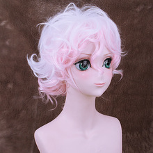 Danganronpa: Trigger Happy Havoc Komaeda Nagito Short Curly Cosplay Wig Synthetic Hair Halloween Costume White Pink Ombre Wigs цены