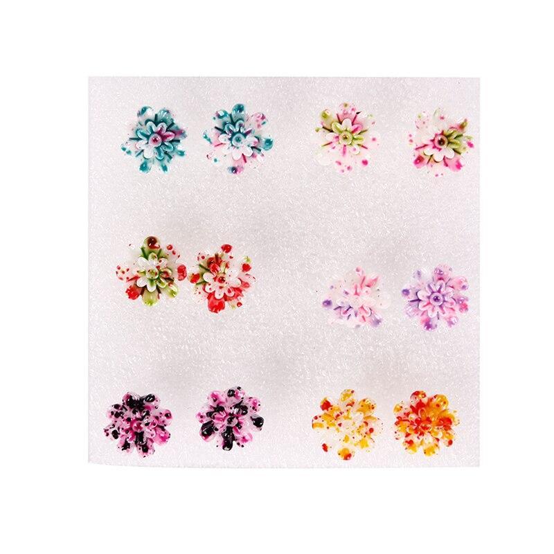 6 Pairs/Set Resin Colorful Daisy Flower Ear Stud Earrings Women Girl Fashion Jewelry #96007