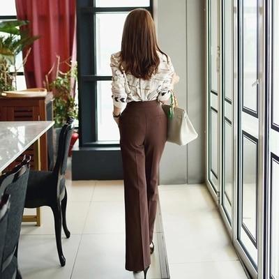 Large pièce Été Tempérament Impression Printemps Ol Mode Nouveau Femmes 1 Jambe Chemise Pantalon Top Costume Féminin Taille Avec Deux xBdeCroW