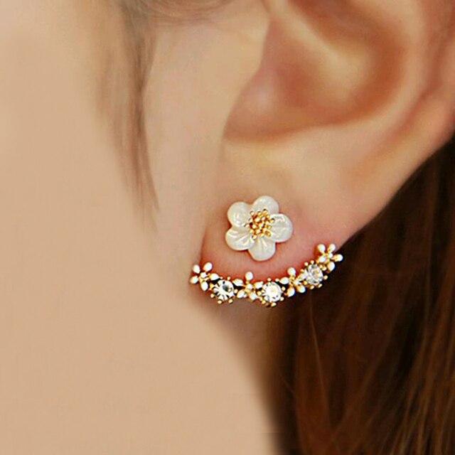 TOMTOSH 2016 Mode Coréenne Imitation Perle Boucles D'oreilles Petite Marguerite Fleurs Suspendus Après Senior Féminin Bijoux En Gros